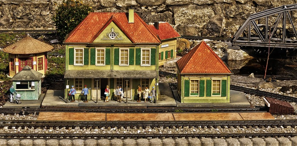a miniature town by the railroad