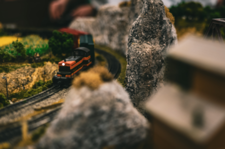 A model train with landscapes